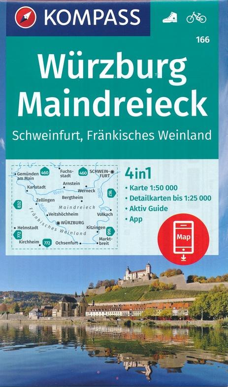 KP-166  Würzburg, Maindreieck, Schweinfurt | Kompass wandelkaart 9783990447482  Kompass Wandelkaarten Kompass Duitsland  Wandelkaarten Franken, Nürnberg, Altmühltal