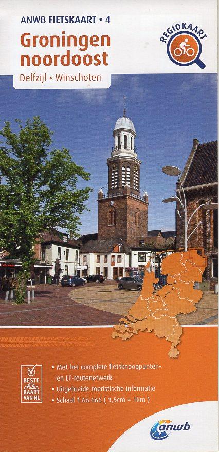 AF-04 Groningen noordoost | ANWB fietskaart 1:66.666 9789018047054  ANWB ANWB fietskaarten 1:66.666  Fietskaarten Groningen