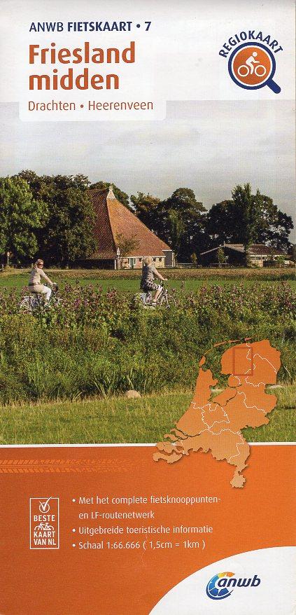 AF-07 Friesland-Midden | ANWB fietskaart 1:66.666 9789018047085  ANWB ANWB fietskaarten 1:66.666  Fietskaarten Friesland