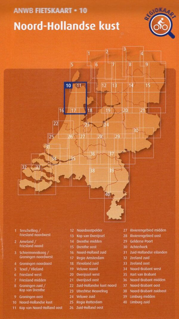 AF-10 Noord-Hollandse Kust   ANWB fietskaart 1:66.666 9789018047115  ANWB ANWB fietskaarten 1:66.666  Fietskaarten Noord-Holland