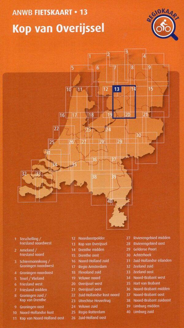 AF-13 Kop van Overijssel | ANWB fietskaart 1:66.666 9789018047146  ANWB ANWB fietskaarten 1:66.666  Fietskaarten Kop van Overijssel, Vecht & Salland