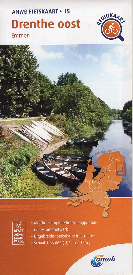 AF-15 Drenthe Oost | ANWB fietskaart 1:66.666 9789018047160  ANWB ANWB fietskaarten 1:66.666  Fietskaarten Drenthe