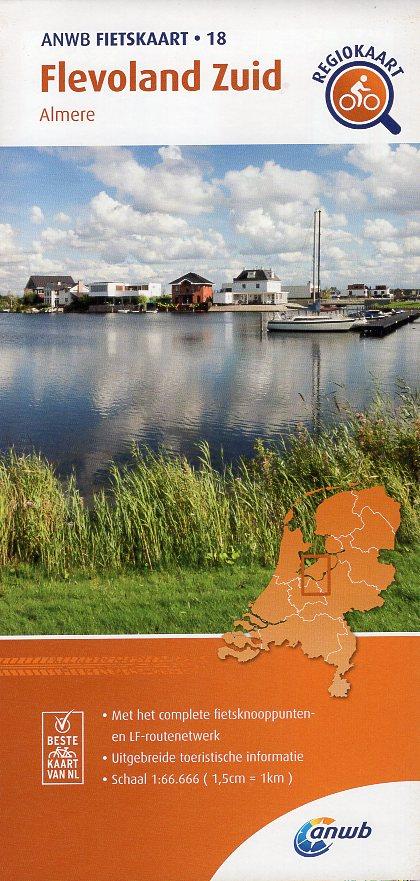 AF-18 Flevoland-Zuid | ANWB fietskaart 1:66.666 9789018047191  ANWB ANWB fietskaarten 1:66.666  Fietskaarten Flevoland en het IJsselmeer