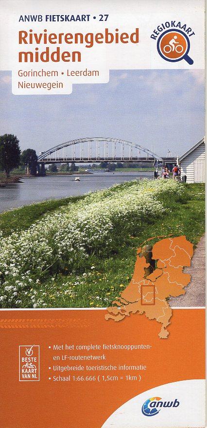 AF-27 Rivierengebied Midden | ANWB fietskaart 1:66.666 9789018047283  ANWB ANWB fietskaarten 1:66.666  Fietskaarten Den Haag, Rotterdam en Zuid-Holland, Nijmegen en het Rivierengebied