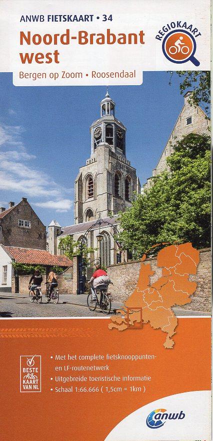 AF-34 Noord-Brabant West | ANWB fietskaart 1:66.666 9789018047351  ANWB ANWB fietskaarten 1:66.666  Fietskaarten Noord-Brabant