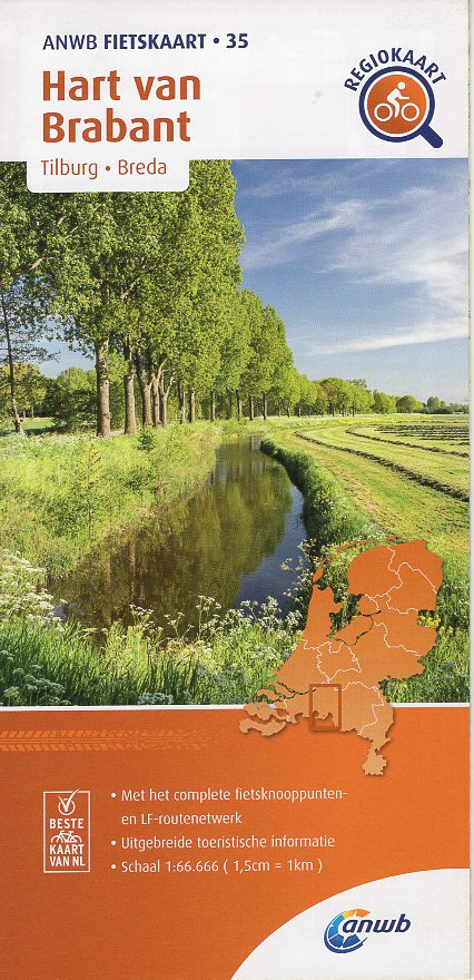 AF-35 Hart van Brabant | ANWB fietskaart 1:66.666 9789018047368  ANWB ANWB fietskaarten 1:66.666  Fietskaarten Noord-Brabant