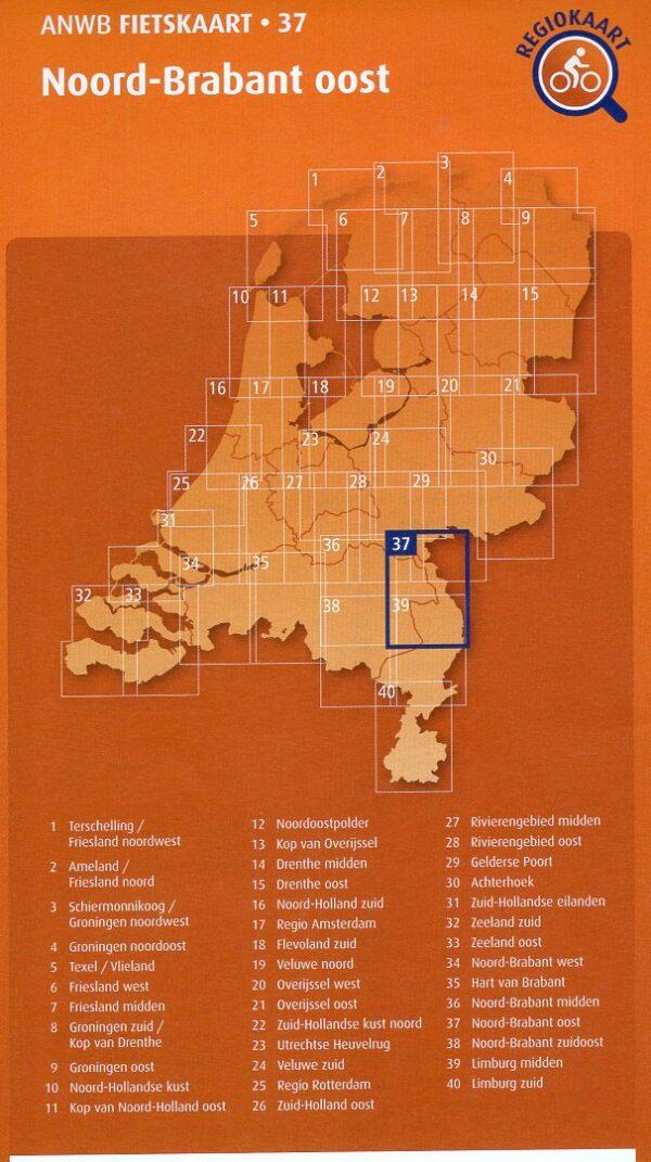 AF-37 Noord-Brabant Oost   ANWB fietskaart 1:66.666 9789018047382  ANWB ANWB fietskaarten 1:66.666  Fietskaarten Noord- en Midden-Limburg, Noord-Brabant