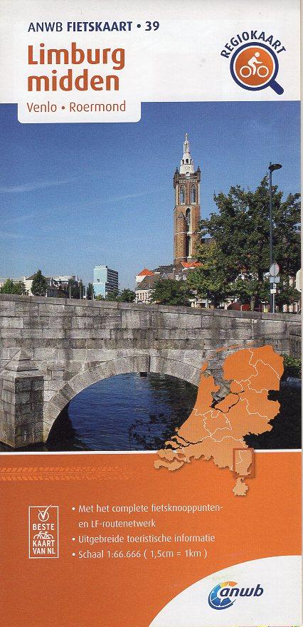 AF-39 Limburg Midden | ANWB fietskaart 1:66.666 9789018047405  ANWB ANWB fietskaarten 1:66.666  Fietskaarten Noord- en Midden-Limburg