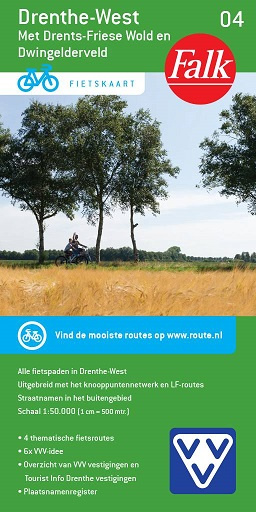 FFK-04  Drenthe-West | VVV fietskaart 1:50.000 9789028701021  Falk Fietskaarten met Knooppunten  Fietskaarten Drenthe