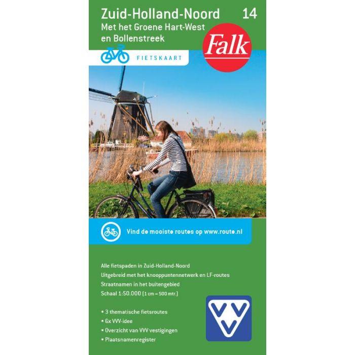 FFK-14 Zuid Holland noord | VVV fietskaart 1:50.000 9789028701083  Falk Fietskaarten met Knooppunten  Fietskaarten Den Haag, Rotterdam en Zuid-Holland