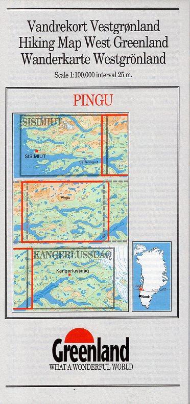 GHM-09  Pingu 1:100.000 0257057  Kort-og Matrikelstyrelsen Greenl. Hiking Maps  Wandelkaarten Groenland