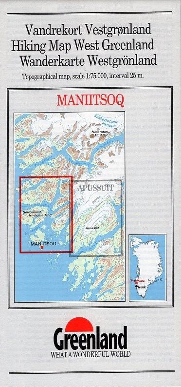 GHM-14  Maniitsoq 1:75.000 0257065  Kort-og Matrikelstyrelsen Greenl. Hiking Maps  Wandelkaarten Groenland