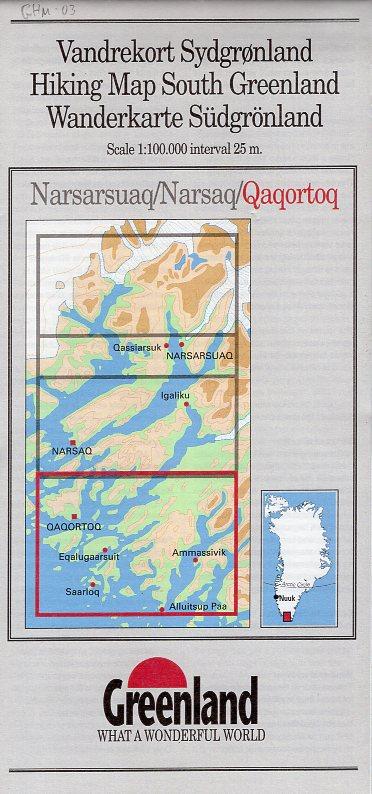 GHM-03  Qaqortoq 1:100.000 0257068  Kort-og Matrikelstyrelsen Greenl. Hiking Maps  Wandelkaarten Groenland
