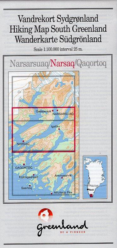 GHM-02  Narsaq 1:100.000 0257071  Kort-og Matrikelstyrelsen Greenl. Hiking Maps  Wandelkaarten Groenland