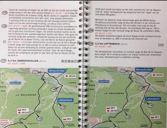 GR-5/E2 traject 5: Zuid-Vogezen 425656978730  De Wandelende Cartograaf   Meerdaagse wandelroutes, Wandelgidsen Vogezen