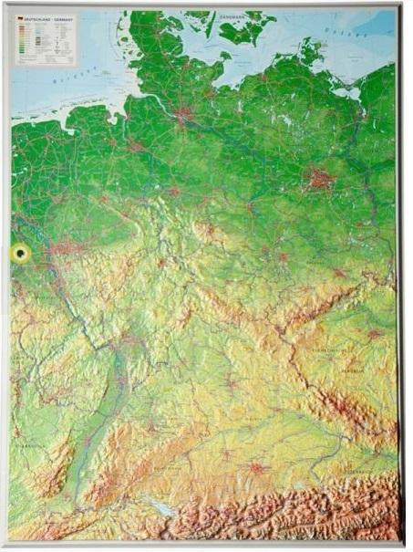 Duitsland 3-dimensionale reliëfkaart 1:1.400.000, aluminiumlijst 4280000002518  Georelief   Wandkaarten Duitsland