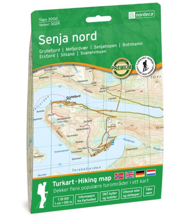 UG-3029 Senja Nord | topografische wandelkaart 1:50.000 7046660030295  Nordeca / Ugland Topo 3000  Wandelkaarten Noorwegen boven de Sognefjord