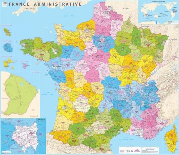 France administrative 1:1.000.000 9782758540359  IGN   Wandkaarten Frankrijk