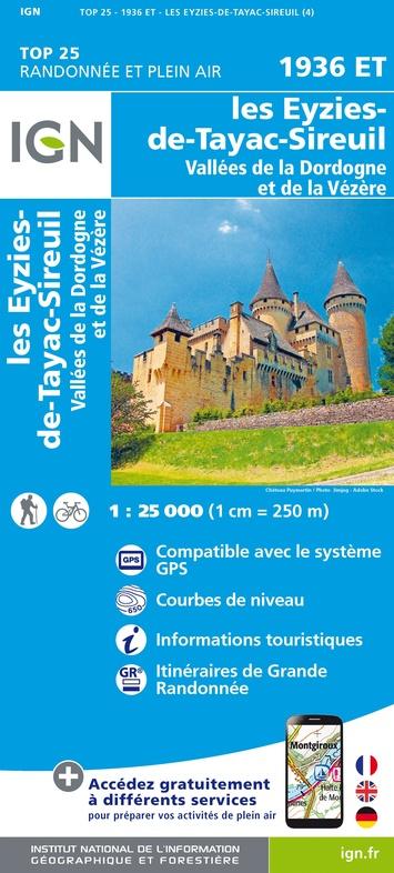 1936ET  Les Eyzies | wandelkaart 1:25.000 9782758542933  IGN TOP 25  Wandelkaarten Dordogne