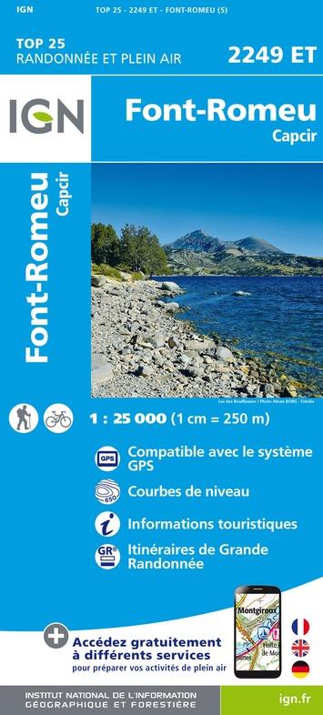 2249ET  Font Romeu, Capcir | wandelkaart 1:25.000 9782758543008  IGN TOP 25  Wandelkaarten Franse Pyreneeën