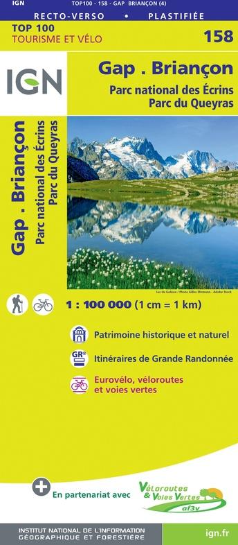 SV-158  Gap, Briançon | omgevingskaart / fietskaart 1:100.000 9782758547693  IGN Série Verte 1:100.000  Fietskaarten, Landkaarten en wegenkaarten Franse Alpen: zuid