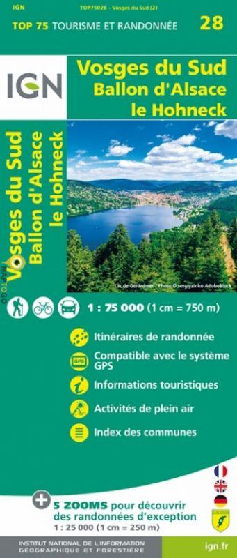 Vosges du Sud | IGN overzichts- en wandelkaart 9782758549741  IGN TOP 75  Fietskaarten, Lopen naar Rome, Wandelkaarten Vogezen