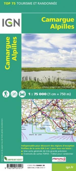 Camargue - Alpilles | IGN overzichts- en wandelkaart 9782758549758  IGN TOP 75  Landkaarten en wegenkaarten, Wandelkaarten Provence, Marseille, Camargue