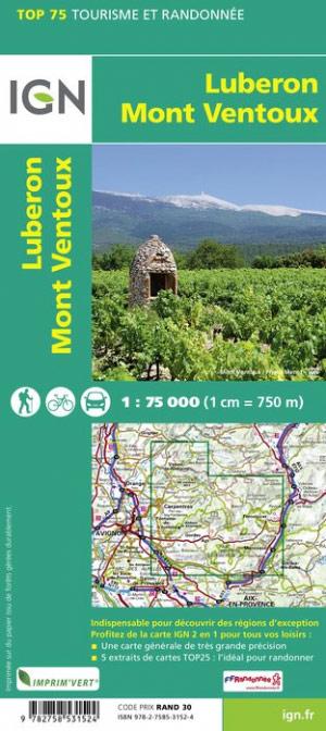 Luberon - Mont-Ventoux | IGN overzichts- en wandelkaart 9782758549765  IGN TOP 75  Landkaarten en wegenkaarten, Wandelkaarten Provence, Marseille, Camargue