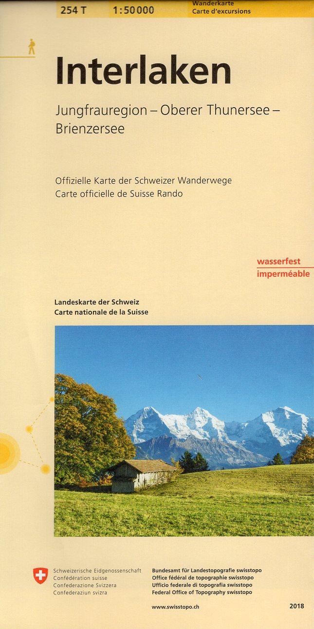 254T Interlaken [2018] 9783302302546  Bundesamt / Swisstopo SAW 1:50.000  Wandelkaarten Berner Oberland, Basel, Jura, Genève