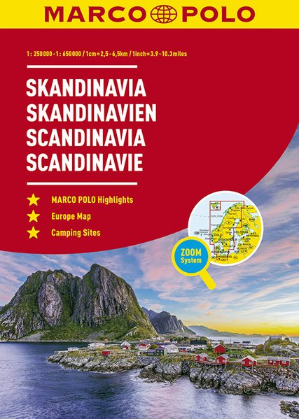 Skandinavië wegenatlas 1/250.000 - 650.000 9783829737371  Marco Polo   Wegenatlassen Scandinavië & de Baltische Staten