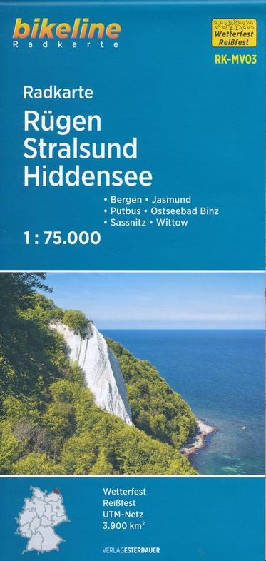 RK-MV03  Rügen, Stralsund, Hiddensee 1:75.000 9783850008631  Esterbauer Bikeline Radkarten  Fietskaarten Rügen