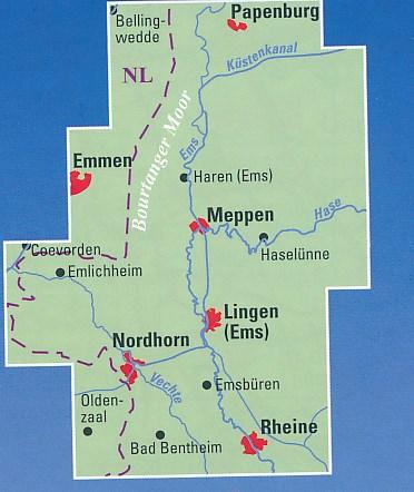 Emsland, Grafschaft Bentheim fietskaart 1:50.000 9783870738860  BVA   Fietskaarten Münsterland, Bentheim