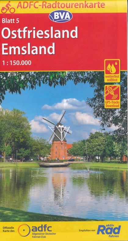 ADFC-05 Ostfriesland/Emsland | fietskaart 1:150.000 9783870739089  ADFC / BVA Radtourenkarten 1:150.000  Fietskaarten Ostfriesland