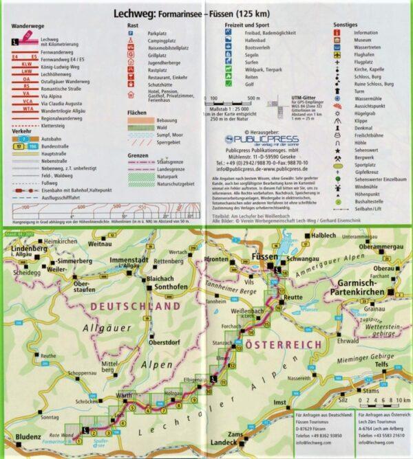 Der Lechweg   Leporello wandelkaart 1:25.000 9783899207286  Publicpress   Wandelkaarten Tirol & Vorarlberg