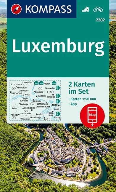 KP-2202 Luxemburg (set van 2 kaarten) | Kompass wandelkaart 9783990446386  Kompass Wandelkaarten   Wandelkaarten Luxemburg