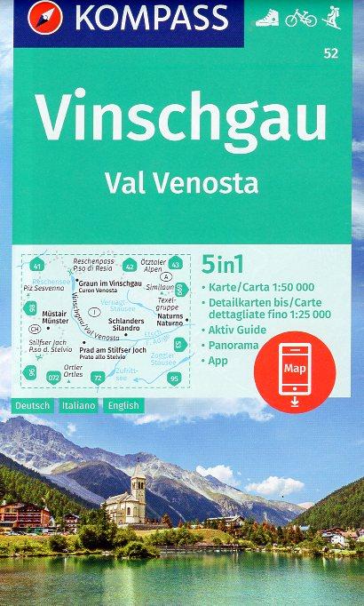 KP-52 Vinschgau/Val Venosta 1:50.000   Kompass wandelkaart 9783990447413  Kompass Wandelkaarten Kompass Italië  Wandelkaarten Zuid-Tirol, Dolomieten