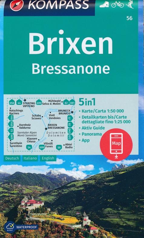 KP-56 Brixen/Bressanone 1:50.000   Kompass wandelkaart 9783990447420  Kompass Wandelkaarten Kompass Italië  Wandelkaarten Zuid-Tirol, Dolomieten