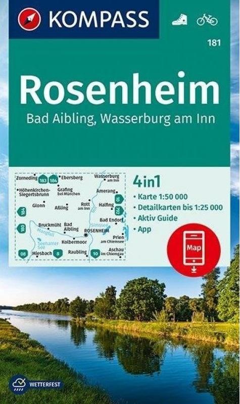 KP-181 Rosenheim/Bad Aibling | Kompass wandelkaart 9783990447468  Kompass Wandelkaarten Kompass Duitsland  Wandelkaarten Beierse Alpen, München en omgeving