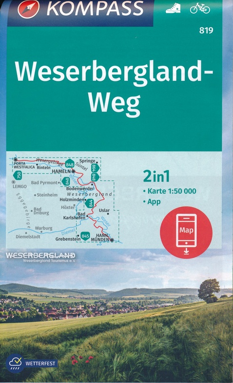 KP-819 Weserbergland-Weg | Kompass 9783990447505  Kompass Wandelkaarten Kompass Duitsland  Wandelkaarten Lüneburger Heide, Hannover, Weserbergland