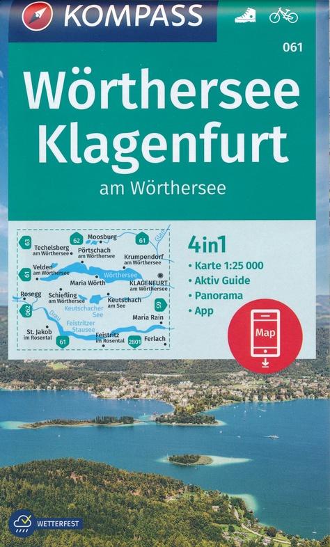 KP-061  Wörther See - Klagenfurt | Kompass wandelkaart 9783990447536  Kompass Wandelkaarten Kompass Oostenrijk  Wandelkaarten Salzburg, Karinthië, Tauern, Stiermarken