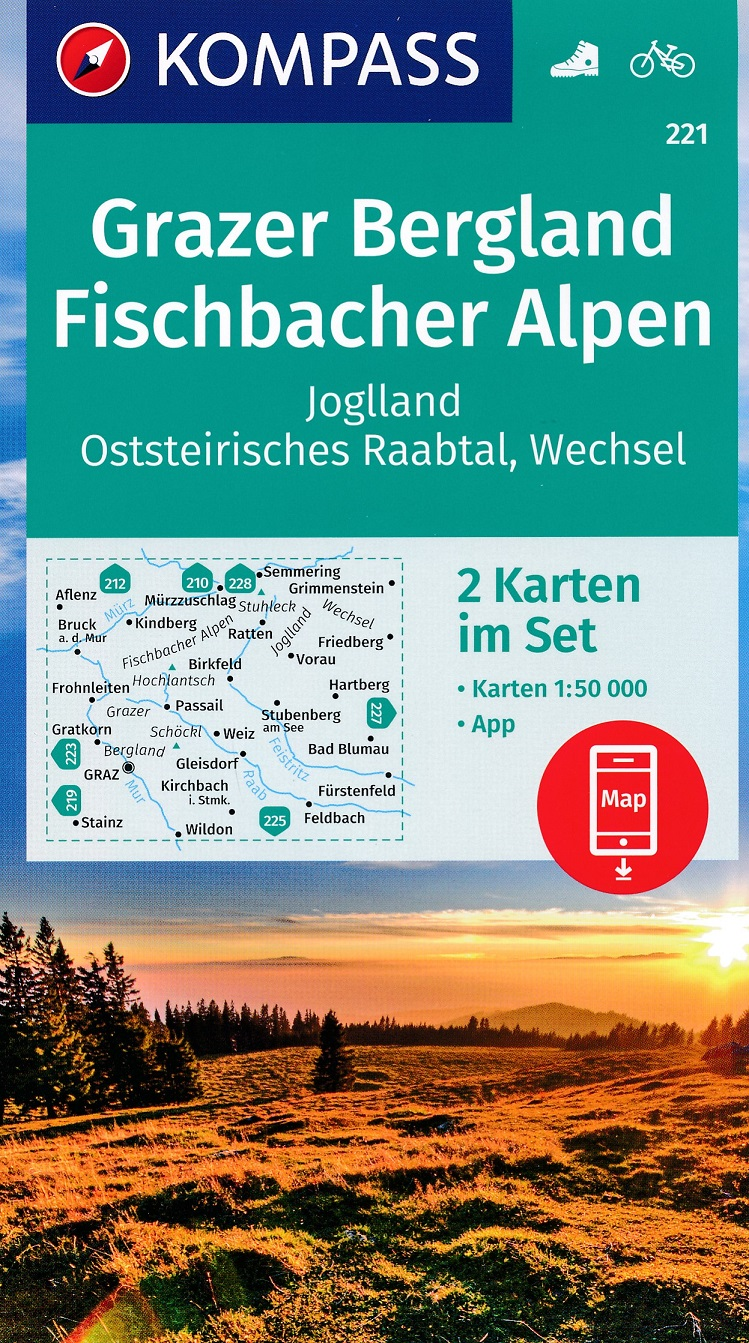 KP-221 Grazer Bergland (Fischbach)   Kompass wandelkaart 9783990447543  Kompass Wandelkaarten Kompass Oostenrijk  Wandelkaarten Wenen, Noord- en Oost-Oostenrijk