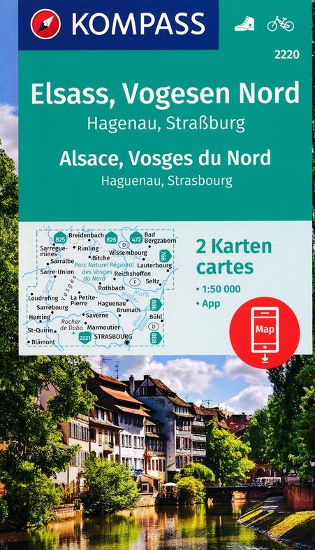 KP-2220 Vogezen-Noord (Vogesen-Nord) | Kompass wandelkaart 9783990447550  Kompass Wandelkaarten   Lopen naar Rome, Wandelkaarten Vogezen