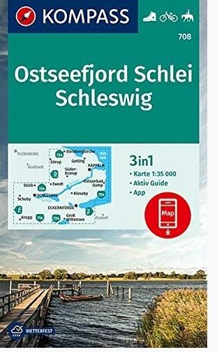 KP-708 Ostseefjor, Schlei, Schleswig 1:35.000 | Kompass wandelkaart 9783990447567  Kompass Wandelkaarten Kompass Duitsland  Wandelkaarten Sleeswijk-Holstein
