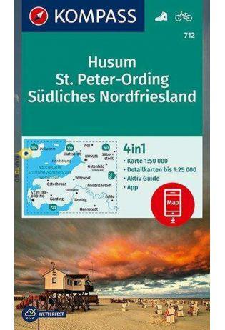 KP-712 Husum/St.Peter/Ording | Kompass wandelkaart 9783990447574  Kompass Wandelkaarten Kompass Duitsland  Wandelkaarten Sleeswijk-Holstein