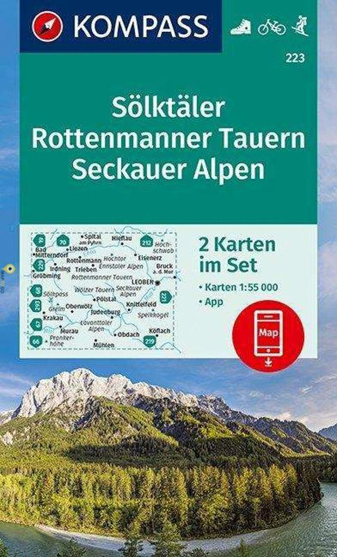 KP-223   Sölktäler - Rottenmanner Tauern - Seckauer Alpen 1:50.000 | Kompass wandelkaart 9783990447598  Kompass Wandelkaarten Kompass Oostenrijk  Wandelkaarten Salzburg, Karinthië, Tauern, Stiermarken