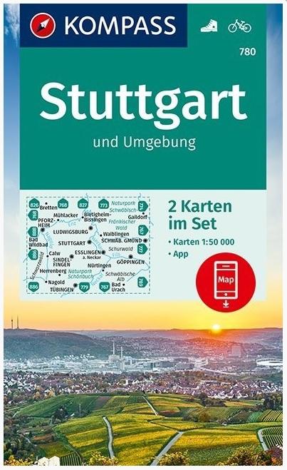 KP-780 Stuttgart und Umgebung | Kompass wandelkaart 9783990447604  Kompass Wandelkaarten Kompass Duitsland  Wandelkaarten Heidelberg, Kraichgau, Stuttgart, Neckar