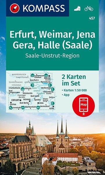 KP-457 Gotha, Erfurt, Weimar, Thüringer Becken | Kompass wandelkaart 9783990448304  Kompass Wandelkaarten Kompass Duitsland  Wandelkaarten Thüringen, Weimar, Rennsteig