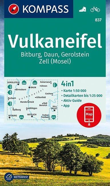 KP-837 Vulkaneifel | Kompass 9783990448311  Kompass Wandelkaarten Kompass Duitsland  Wandelkaarten Eifel