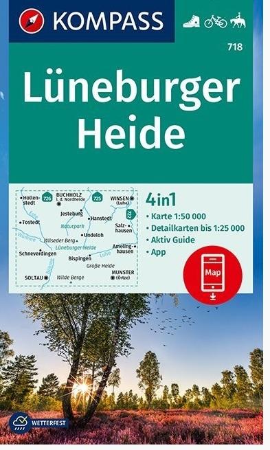 KP-718  Lüneburger Heide 1:50.000 | Kompass wandelkaart 9783990448328  Kompass Wandelkaarten Kompass Duitsland  Wandelkaarten Lüneburger Heide, Hannover, Weserbergland
