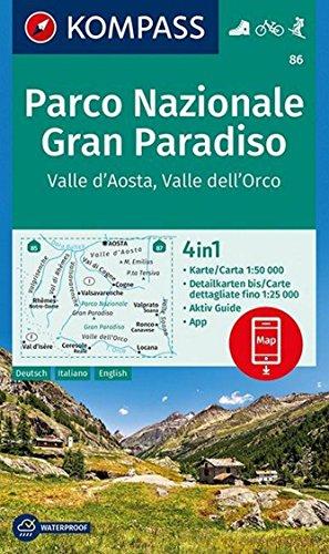 KP-86 Gran Paradiso 1:50.000 | Kompass wandelkaart 9783990448335  Kompass Wandelkaarten Kompass Italië  Wandelkaarten Aosta, Gran Paradiso